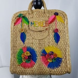 Trendy vintage 50s raffia woven straw tote Mexico